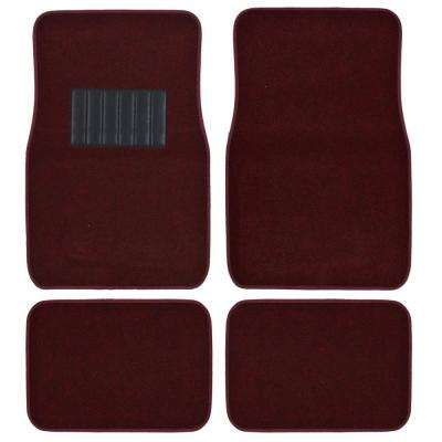 MatLock MT-120 Burgundy Carpet with Non-Slip Backing 4-Piece Car Floor Mats