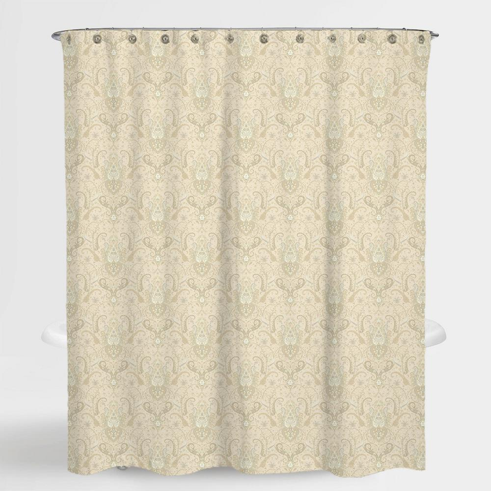 72 in. x 72 in. Royal Paisley Beige Lucia Water Repellent