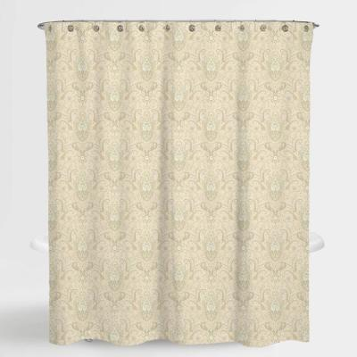 72 in. x 72 in. Royal Paisley Beige Lucia Water Repellent Shower
