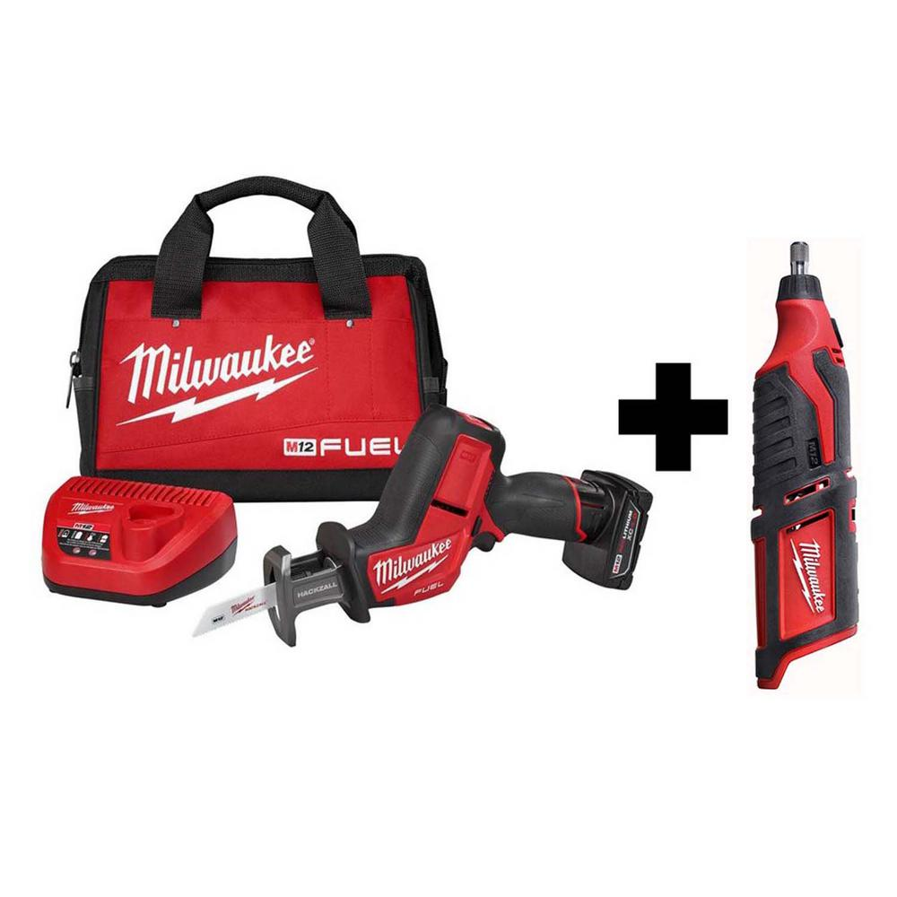 Milwaukee M12 FUEL 12-Volt Lithium-Ion Brushless Cordless HACKZALL Reciprocating Saw Kit with Free M12 Rotary Tool