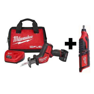 M12 FUEL 12-Volt Lithium-Ion Brushless Cordless HACKZALL Reciprocating Saw Kit with Free M12 Rotary Tool