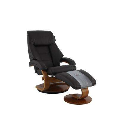 Montreal Espresso Top Grain Leather Recliner and Ottoman with Pillow