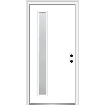 32 in. x 80 in. Viola Left-Hand Inswing 1-Lite Frosted Modern Painted Steel Prehung Front Door on 4-9/16 in. Frame