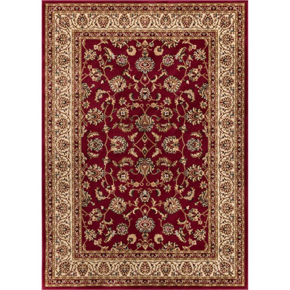 Well Woven Barclay Sarouk Red 7 ft. x 10 ft. Traditional Floral Area Rug