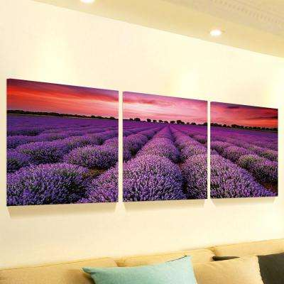 "20 in. x 60 in. ""Stunning Lavender Field Landscape"" Printed Canvas Wall Art"