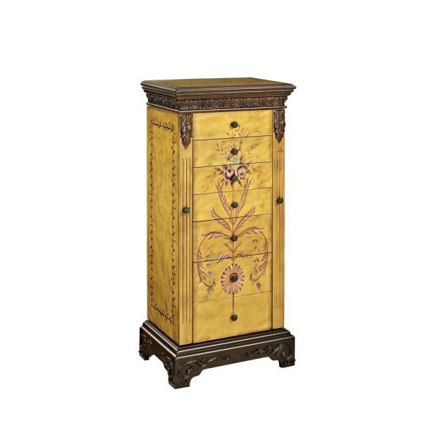 Powell Company Masterpiece Antique Parchment Hand Painted Jewelry Armoire 582-314