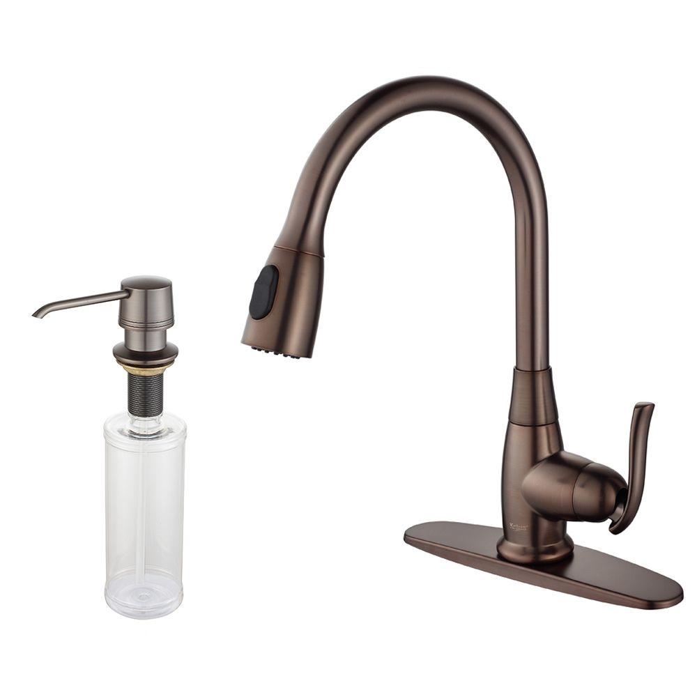 KRAUS Single Handle Stainless Steel High Arc Pull Down Sprayer Kitchen  Faucet With Soap Dispenser In Satin Nickel KPF 2230 KSD 30SN   The Home  Depot