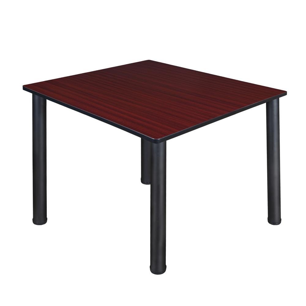 48 Square Dining Room Table: Regency Kee 48 In. Mahogany And Black Square Breakroom Table-TB4848MHBPBK