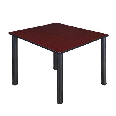 Kee 48 in. Mahogany and Black Square Breakroom Table