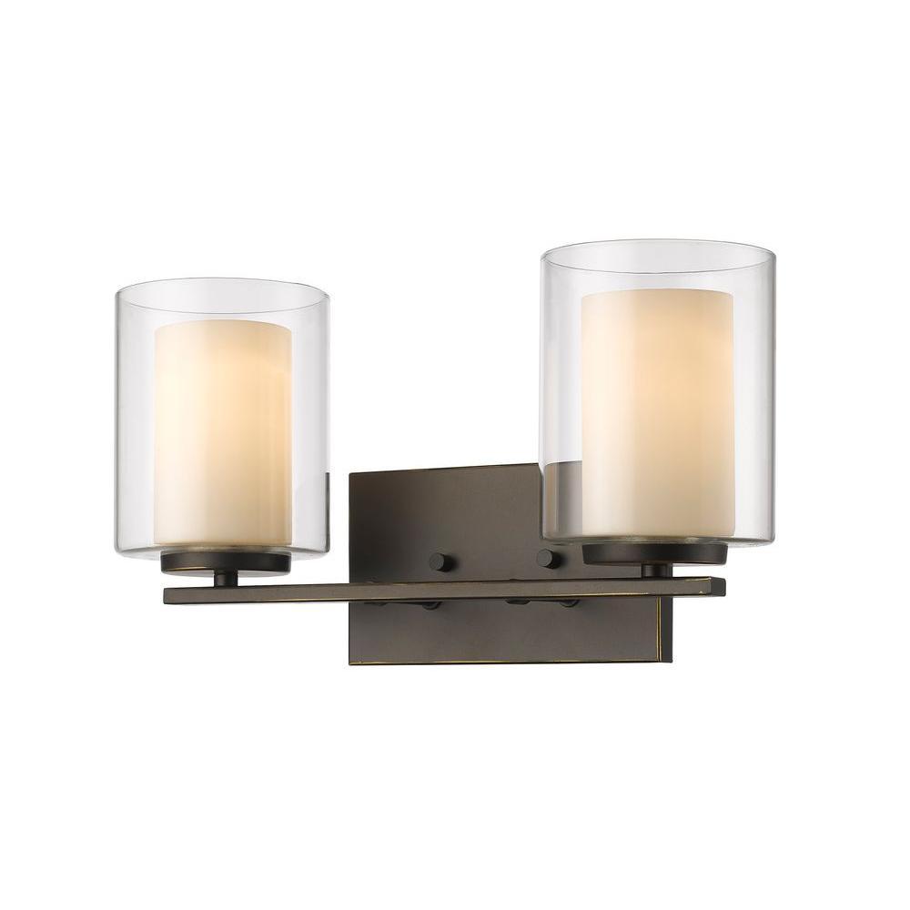 Wesson 2-Light Olde Bronze Bath Vanity Light