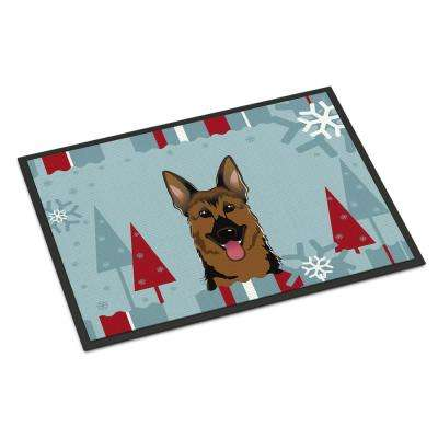 18 in. x 27 in. Indoor/Outdoor Winter Holiday German Shepherd Door Mat