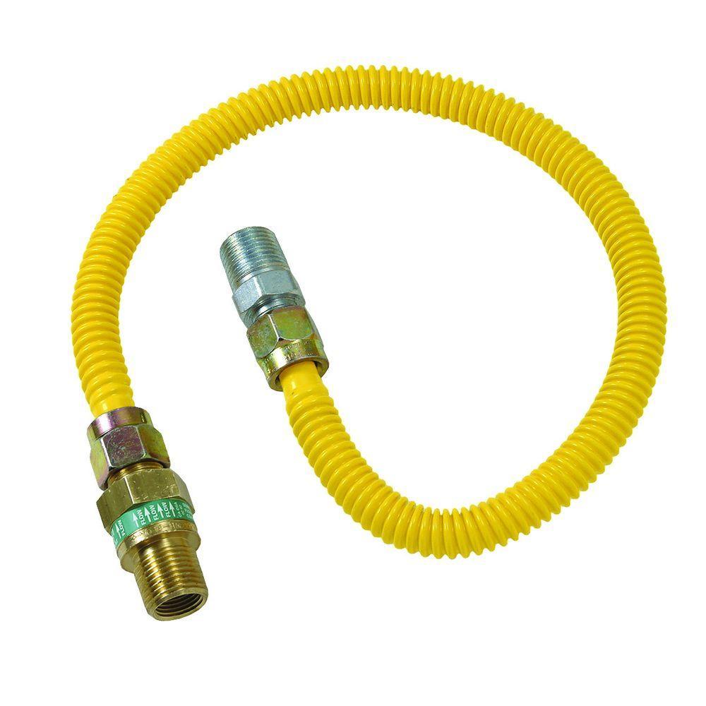 Brasscraft Safety+PLUS 3/8 inch Female Flare Excess Flow Valve x 1/2 inch MIP x 72 inch Gas Connector 1/2 inch O.D.... by BrassCraft