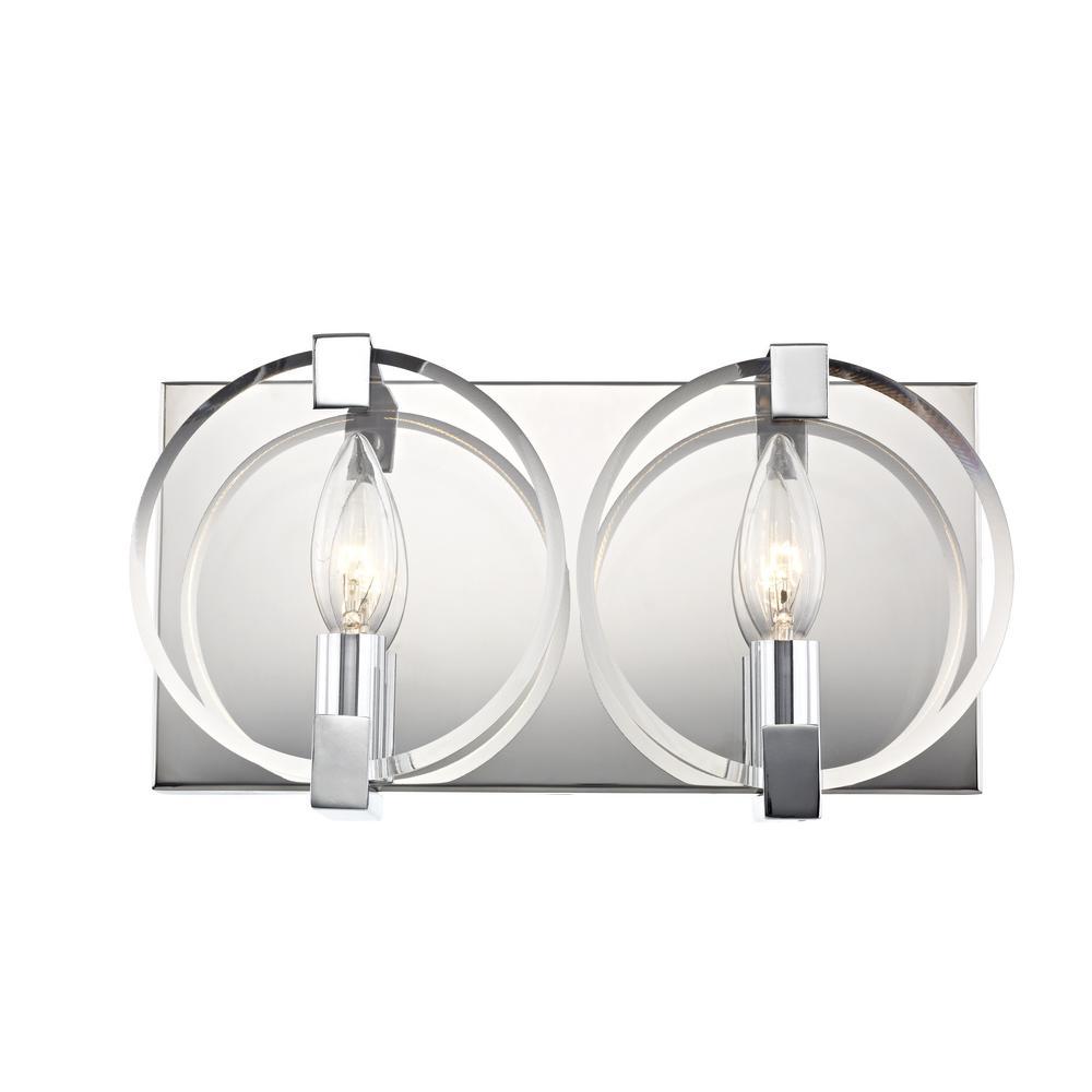 Kinsale 2-Light Polished Chrome Sconce with Clear Beveled Glass