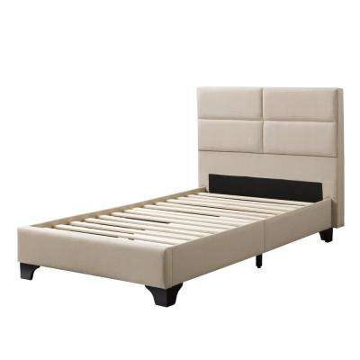 Bellevue Cream Fabric Twin/Single Wide-Rectangle Panel Upholstered Bed