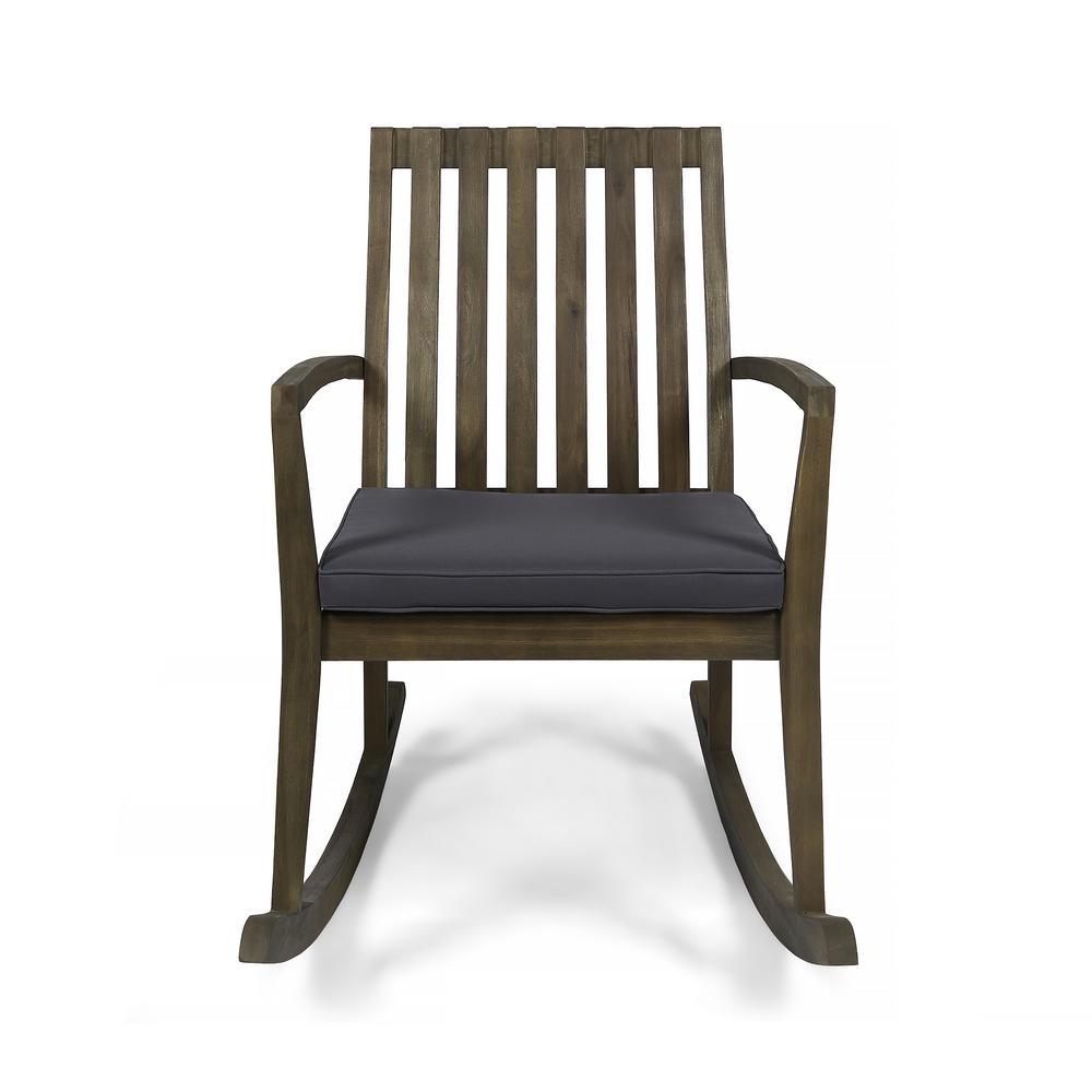 Colmena Grey Acacia Wood Outdoor Rocking Chair with Dark Grey Cushion