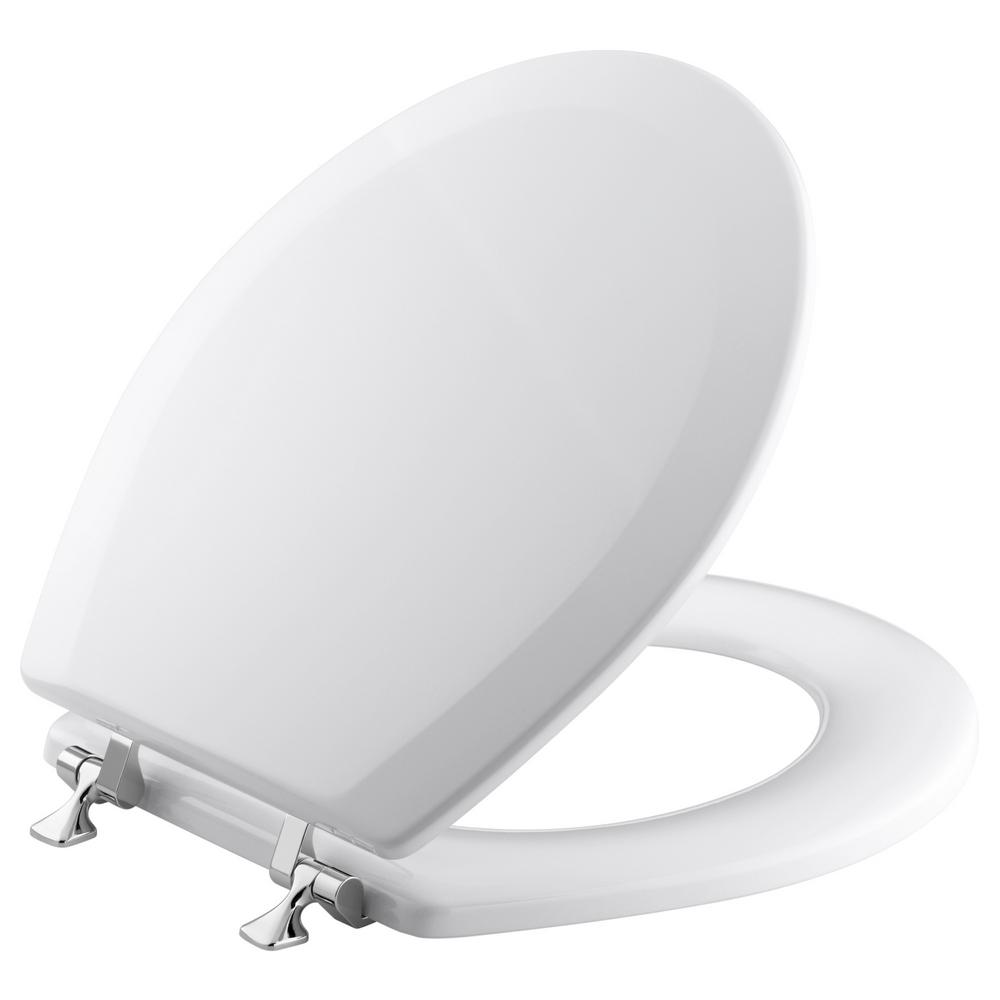Terrific Kohler Triko Molded Round Closed Front Toilet Seat With Cover And Polished Chrome Hinge In White Dailytribune Chair Design For Home Dailytribuneorg