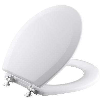 Triko Molded Round Closed Front Toilet Seat with Cover and Polished Chrome Hinge in White