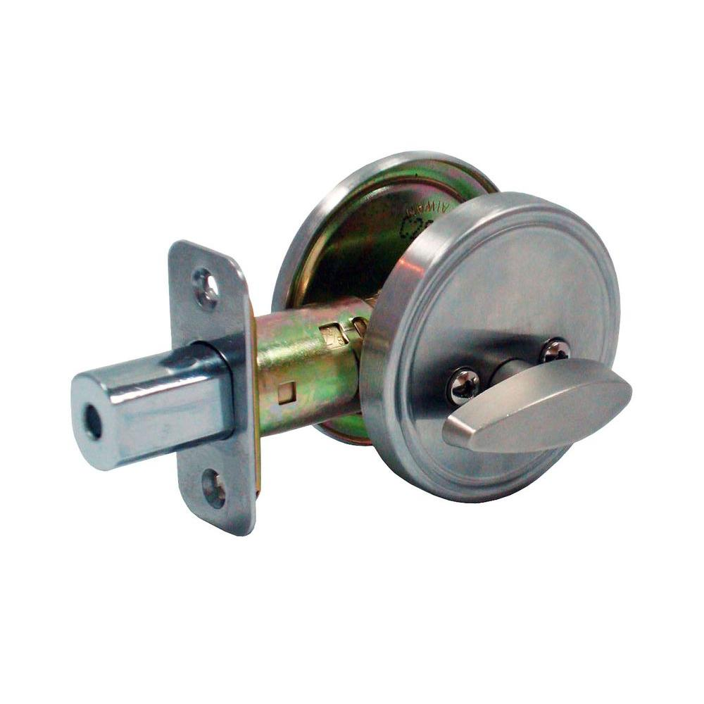 Faultless Single Sided Stainless Steel Deadbolt with Outside Plate