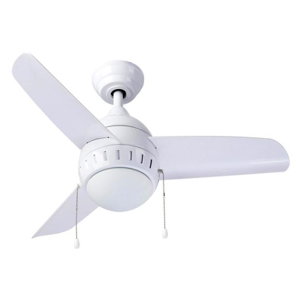 36 in. Integrated LED Indoor White Ceiling Fan with Light Kit