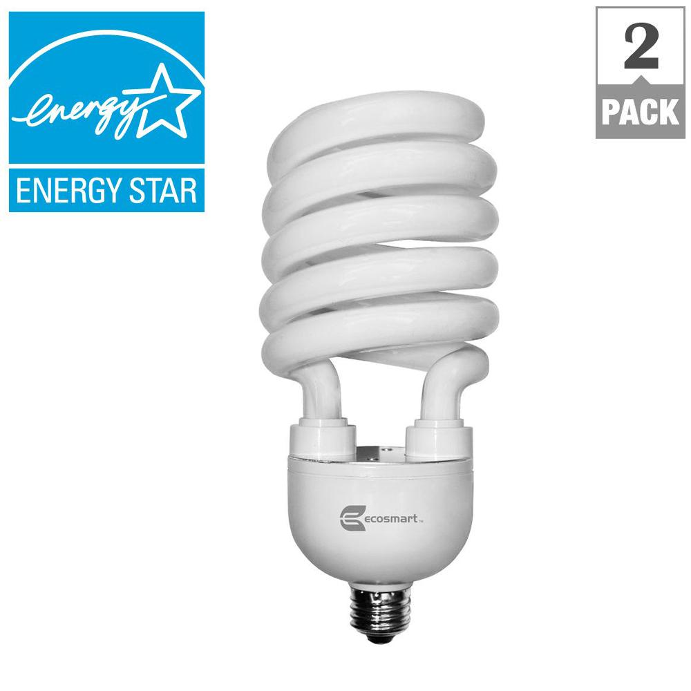 EcoSmart 150W Equivalent Soft White Spiral CFL Light Bulb (2-Pack)