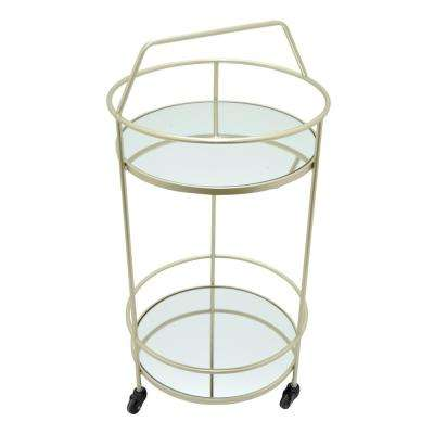 28 in. Champagne Metal Rolling Cart with Mirror