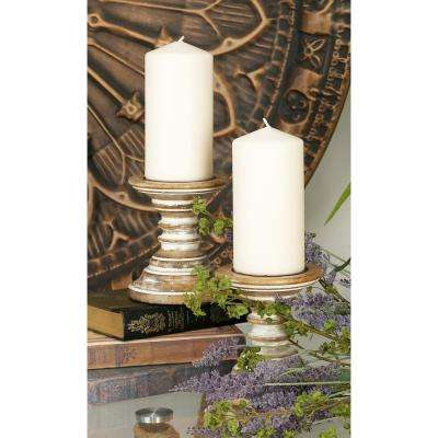 6 in. Oak Brown with Beige Tapered Segmented Round Candle Holders