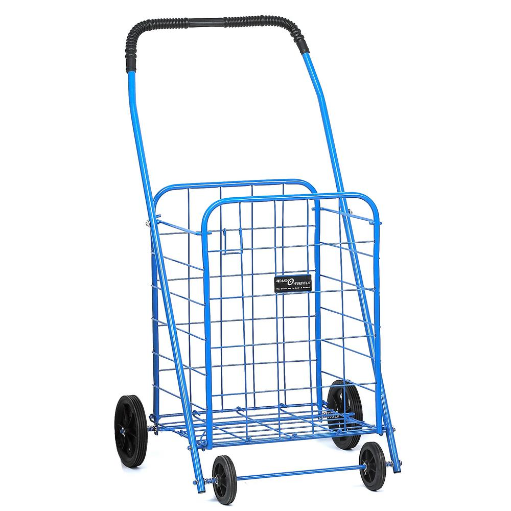 Easy Wheels Shopping Cart Mitey-A in Blue The Easy Wheels Mitey-A Shopping cart has been the industry's premier cart with industrial strength for home use. When lying down, with the cart folded, the highest measurement is the wheels with a 9.25 in. in diameter giving an incredible amount of convenience in a compact size. This particular model has hardened plastic wheels with rubber-like tread. Color: Blue.