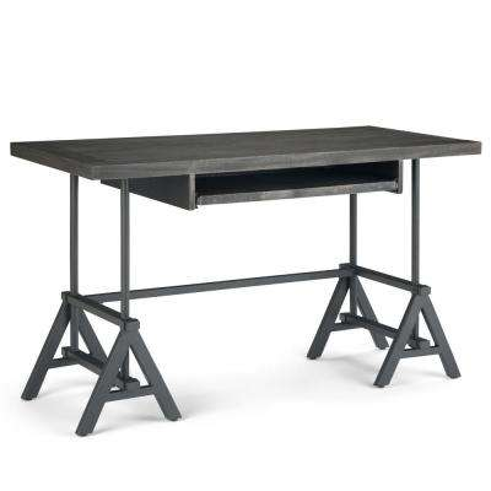 Sklar Modern Industrial 52 in. Wide Desk in Distressed Dark Brown