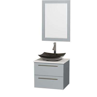 Amare 24 in. W x 19.5 in. D Vanity in Dove Gray with Solid-Surface Vanity Top in White with Black Basin and Mirror