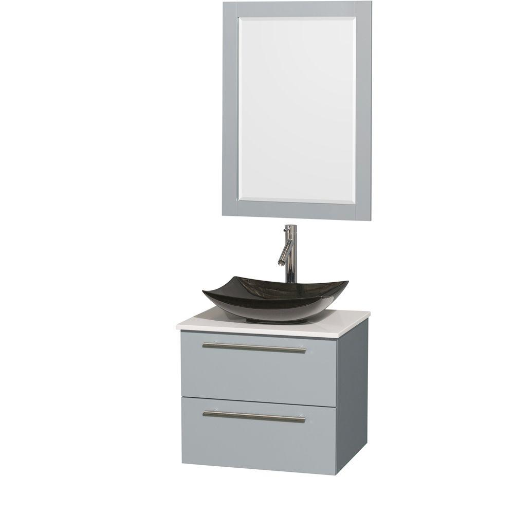 Decor Living Berto 24 In W X 19 D Floating Vanity Black With Top White Basin And Mirror Ev326 The Home Depot