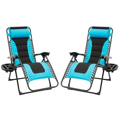 Black Foldable Metal Frame Padded Outdoor Cloth Gravity Chairs with Foot Cover and Big Cupholder in Turquoise (2-Pack)