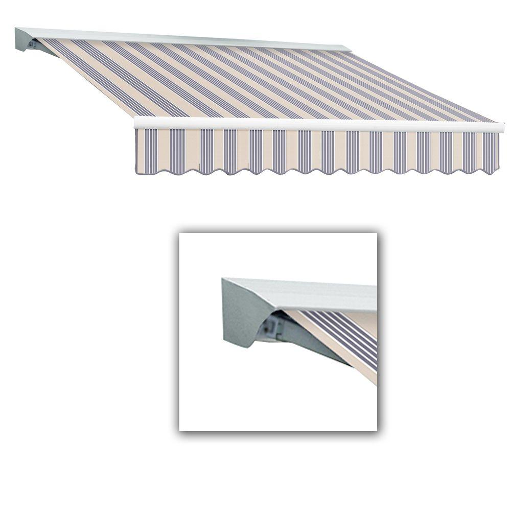 AWNTECH 14 ft. Destin-LX Manual Retractable Acrylic Awning with Hood (120 in. Projection) in Dusty Blue Multi
