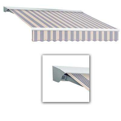 8 ft. LX-Destin with Hood Manual Retractable Acrylic Awning (84 in. Projection) in Dusty Blue Multi