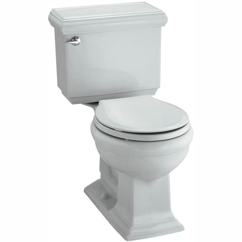 Memoirs Classic 2-piece 1.28 GPF Single Flush Round Toilet with AquaPiston Flushing Technology in Ice Grey