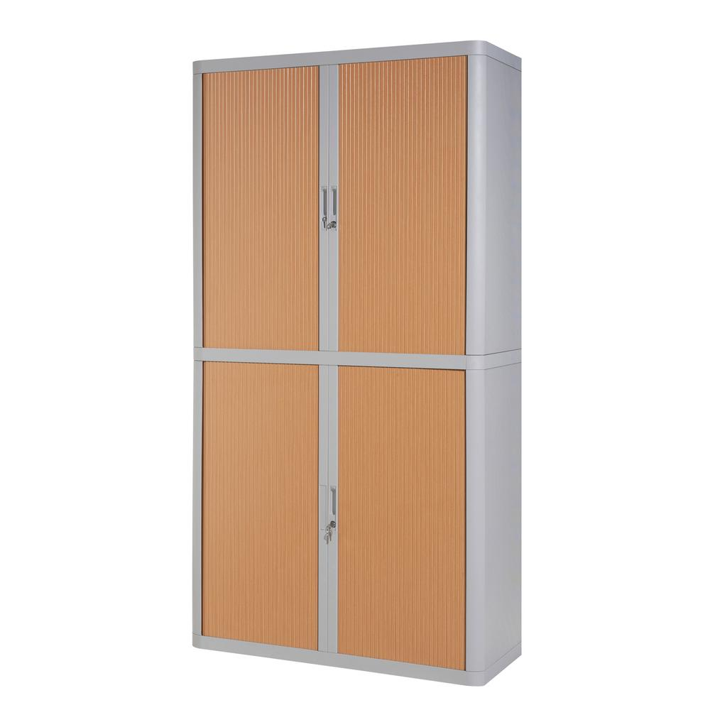 Paperflow Easyoffice Storage Cabinet 80 In Tall With 4 Shelves Grey And Beech E2ct0009300028 The Home Depot