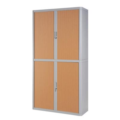 Paperflow easyOffice Storage Cabinet, 80 in. Tall with 4-Shelves, Grey and Beech