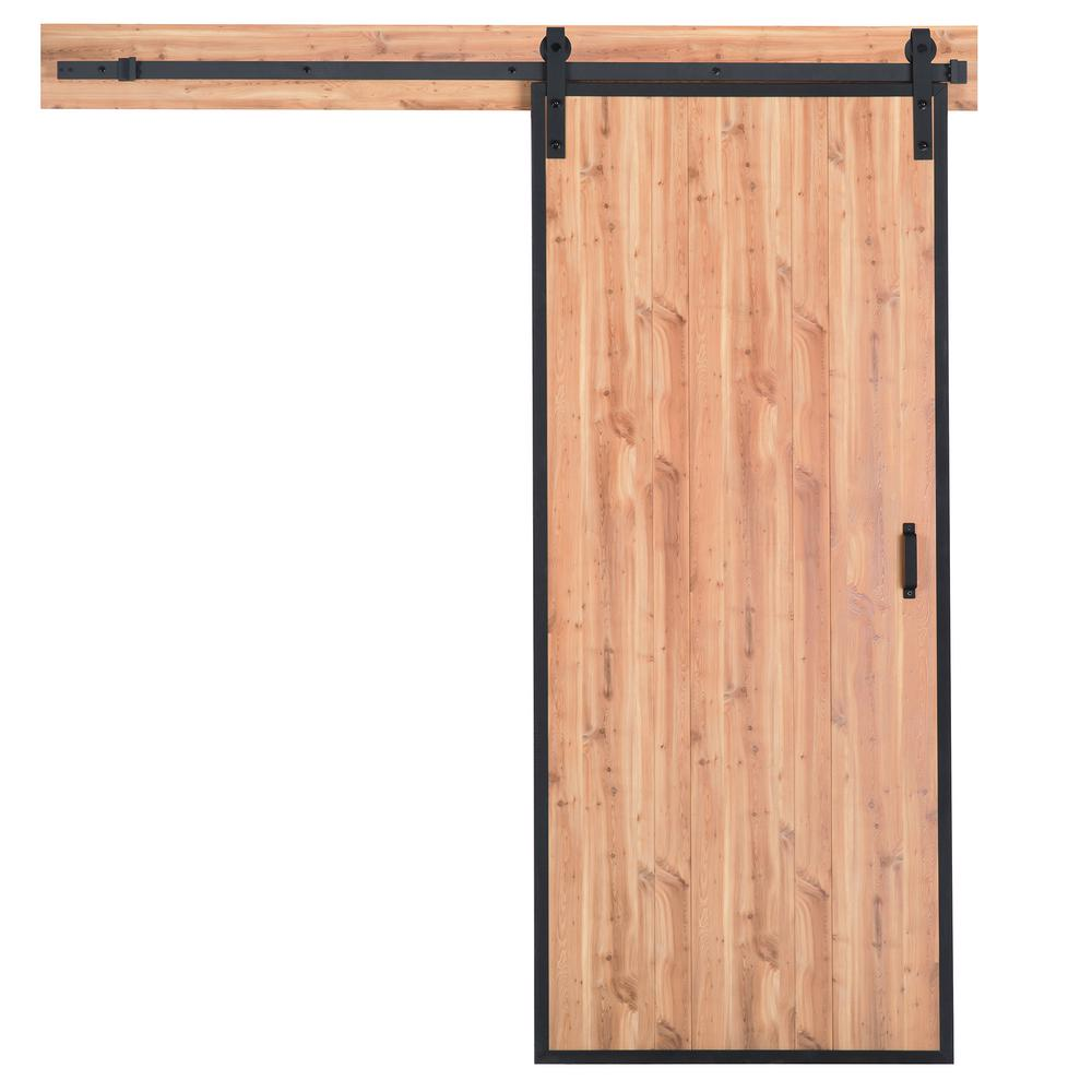 Truporte 36 In X 84 In Terra Pine Rustic Metal Framed Solid Core Interior Sliding Barn Door With Rustic Hardware Kit Bd125w01pi1pie36084 The Home Depot