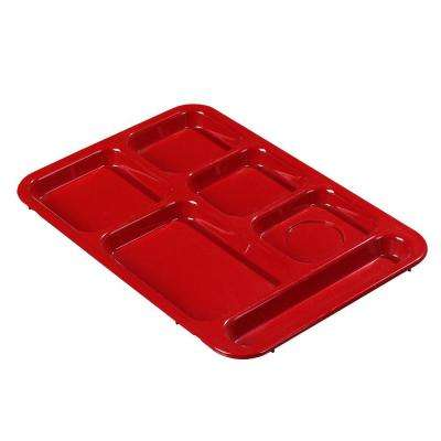 14.37x10 in. ABS Plastic Right Hand 6-Compartment Tray in Red (Case of 24)