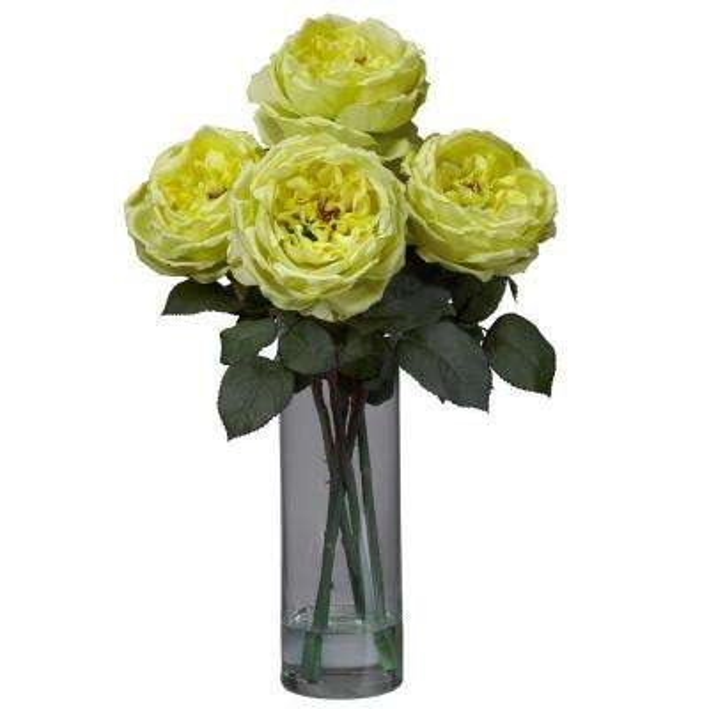 18 in. H Yellow Fancy Rose with Cylinder Vase Silk Flower Arrangement