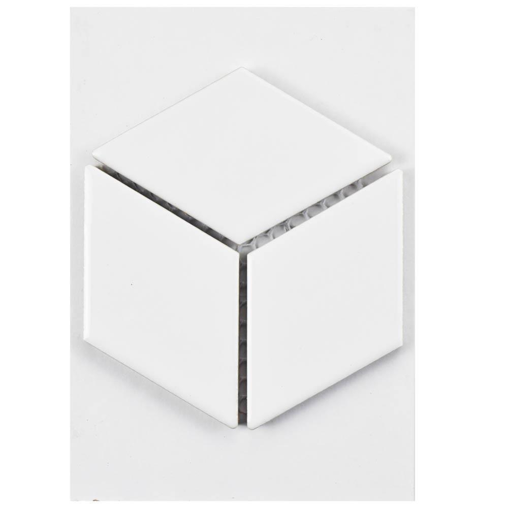 Metro Rhombus Glossy White Porcelain Mosaic Tile - 3 in. x 4 in. Tile Sample