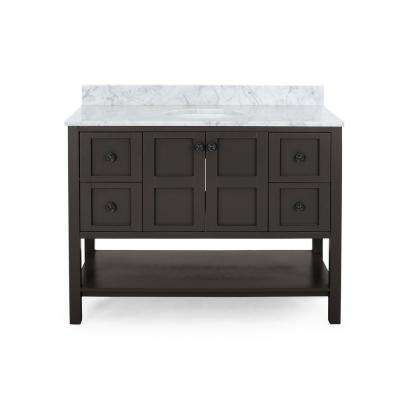 Jaeden 48 in. W x 22 in. D Bath Vanity with Carrara Marble Vanity Top in Brown with White Basin