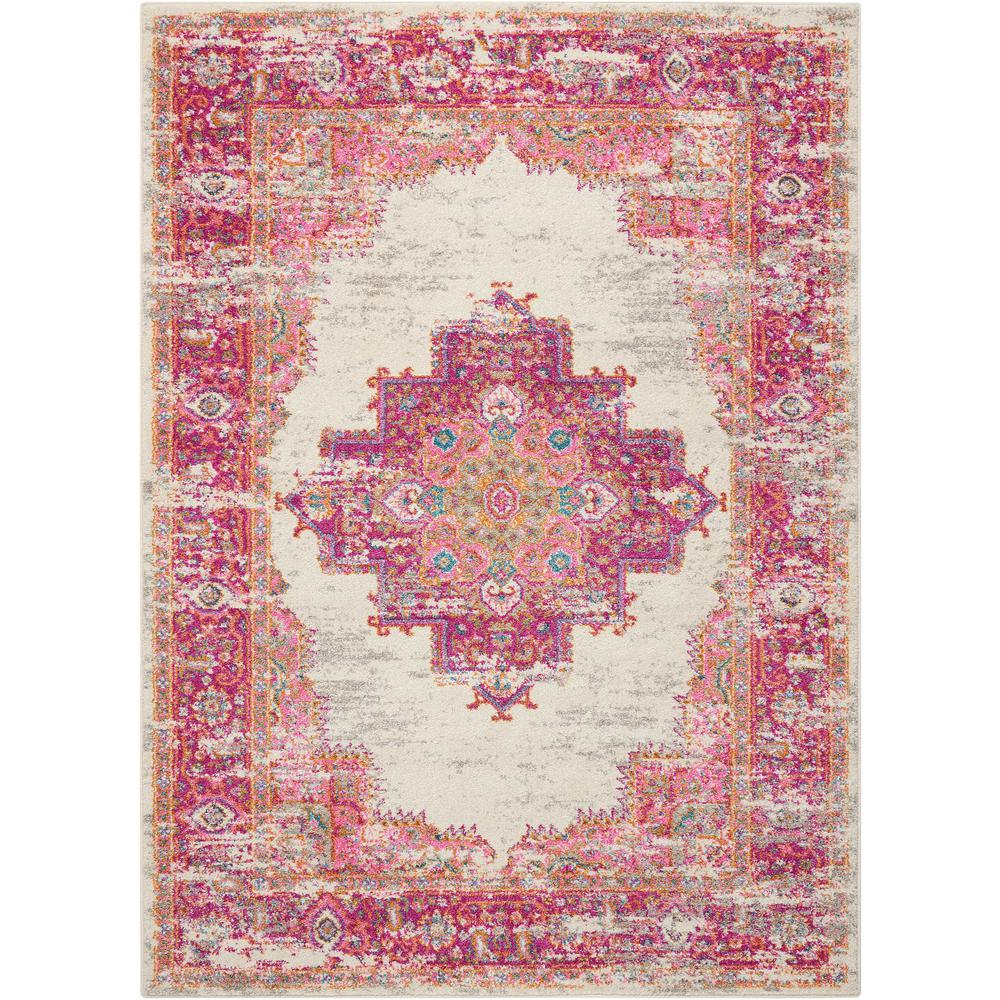 Nourison Passion Ivory Fuchsia 5 Ft 3 In X 7 Ft 3 In