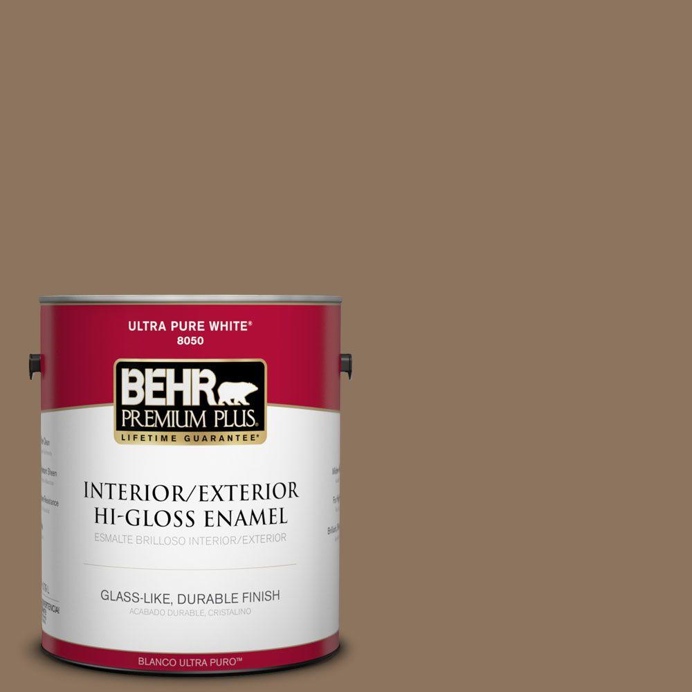 BEHR Premium Plus 1-gal. #N260-6 Outdoor Cafe Hi-Gloss Enamel Interior/Exterior Paint