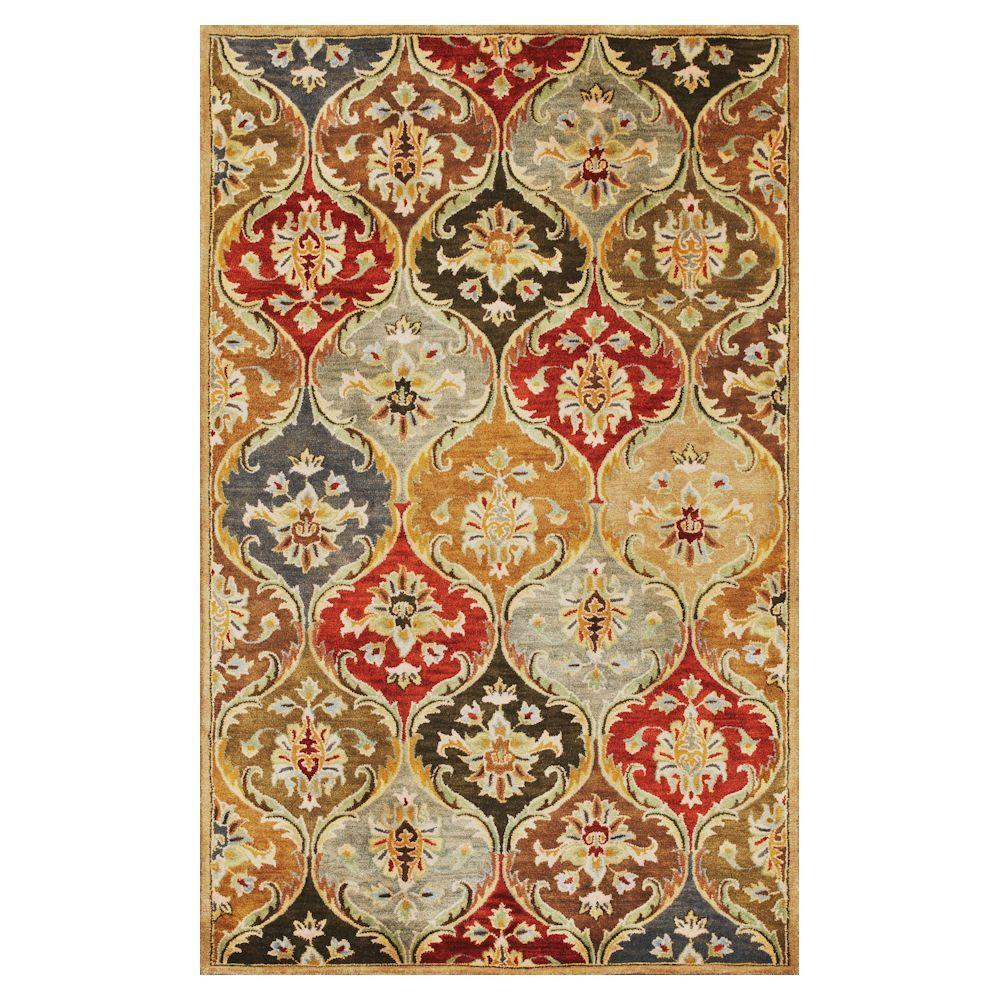 Kas Rugs Perfect Panel Beige/Red 9 ft. x 13 ft. Area Rug