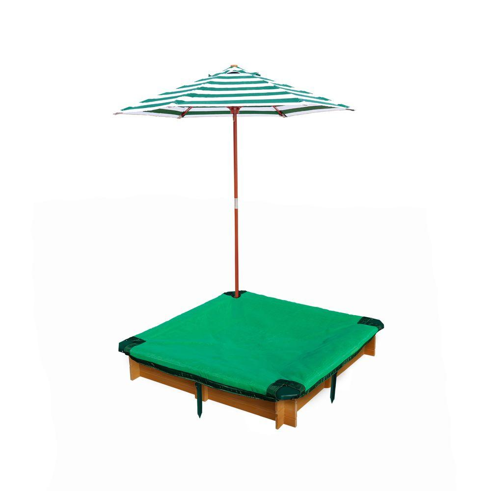 Gorilla Playsets 3 3/4 Ft. X 3 3/4 Ft. X 8 In. Square Interlocking Sandbox With  Cover And Umbrella 02 3019   The Home Depot