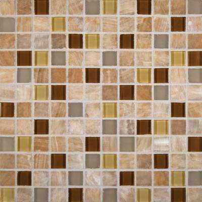 Honey Onyx Caramel 12 in. x 12 in. x 8mm Glass Stone Mesh-Mounted Mosaic Tile