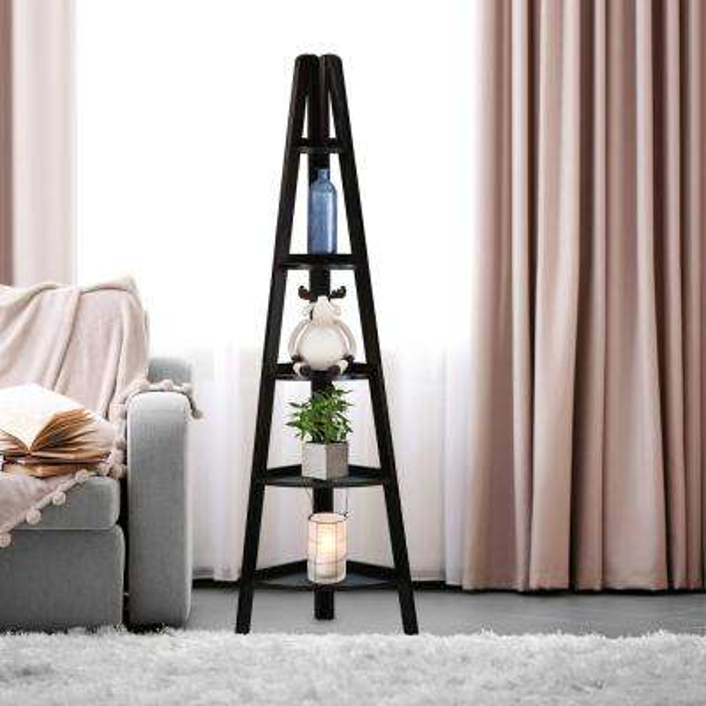 Espresso 5-Shelf Corner Ladder Bookcase