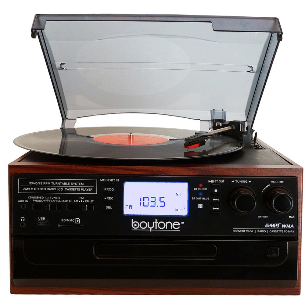 9-in-1 Turntable Audio System in Mahogany Brilliant sounding 3-Speed Bluetooth Turntable System for the home or office. Listen to any format including Vinyl, CD, Cassette Tape, USB/SD, AUX, RCA and 3.5 mm connectivity. Encode Auxiliary-In, Vinyl, Radio and Cassette Tape to MP3 or WMA playback on USB or SD.