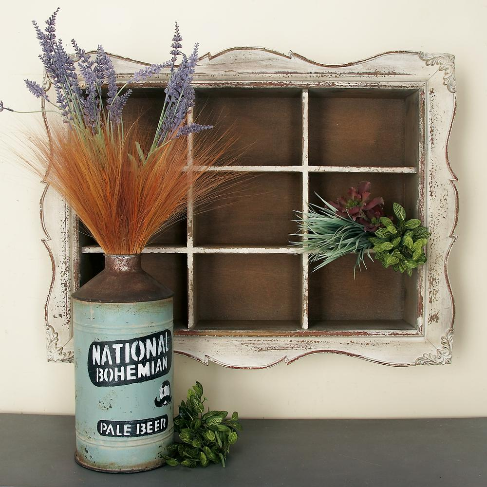 Rustic Wooden Cubbyhole Framed Wall Shelf