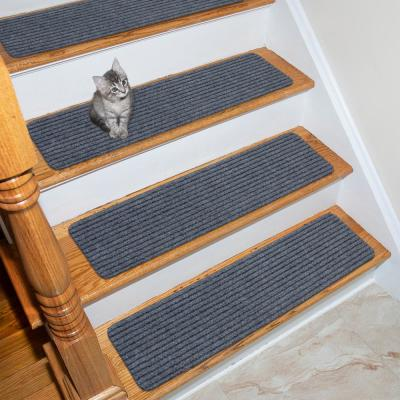 Scrape Rib Collection Gray 8 in. x 30 in. Black Latex Back Stair Tread Cover (Set of 14)